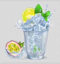 Faceted glass with cocktail and ice fresh lemon vector