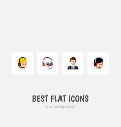 flat icon center set of operator call center vector image