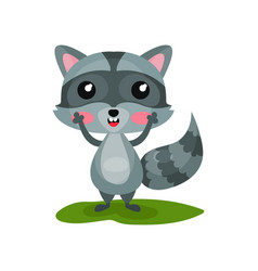 flat icon of cute raccoon with excited face vector image