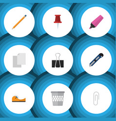flat icon tool set of drawing tool trashcan vector image