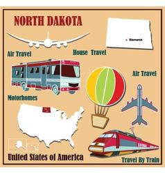 Flat map of North Dakota vector