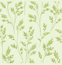 Floral pattern with leaves ornamental herb branch vector