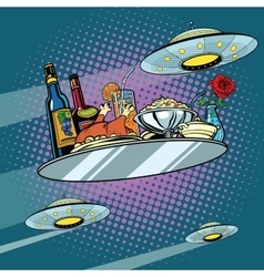 Flying a dinner tray and ufo vector