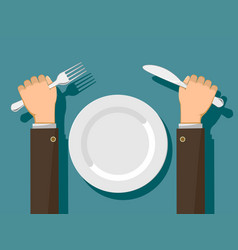 Fork and knife in hands and a white empty plate vector