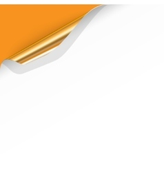 Gold Curled Corner with Orange Background vector