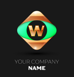 golden letter w logo in the golden-green square vector image