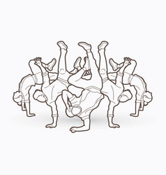 Group of people dancing hip hop street dance vector
