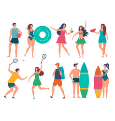 groups of summer peoples stylized vector image
