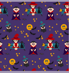 Halloween seamless pattern with kids in vector