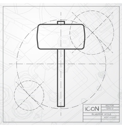 Hammer icon Epsclassic blueprint of0 vector