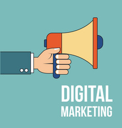 hand holding megaphone digital marketing vector image