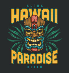 hawaii surfing colorful badge vector image