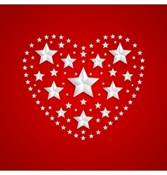Heart symbol made of gray stars on red background vector