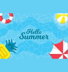 hello summer background on sea with umbrellas vector image