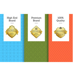 high end brand premium quality 100 golden label vector image