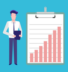 Infographics on board man with tablet presenter vector