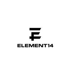 initial letter number e e14 14e logo design vector image