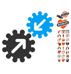 Integration gears icon with love bonus vector