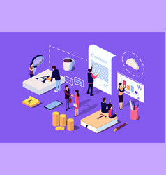 Isometric concept investor or business vector