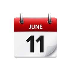 June 11 flat daily calendar icon Date vector