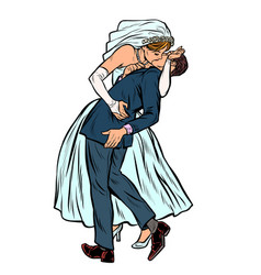 kiss bride and groom wedding ceremony feminist vector image