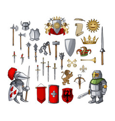 Knight cartoon character with different game vector