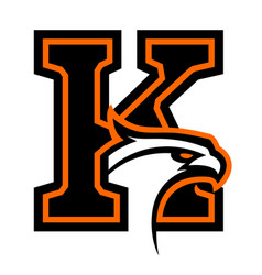 Letter k with eagle head vector