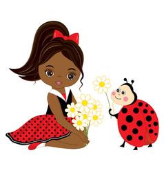 little african american girl with ladybug vector image