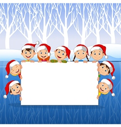 Little kids with a blank sign and christmas hats vector
