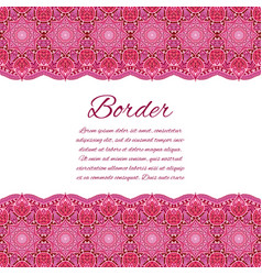 Mandala border card or invitation red wedding vector