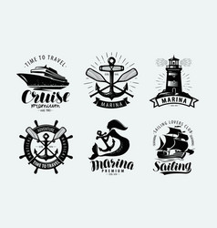 Marina sailing cruise logo or label marine vector