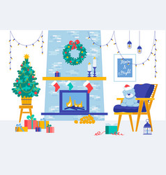 merry christmas and happy new year room decor vector image