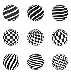 Minimalistic shapes halftone black color spheres vector