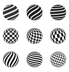 Minimalistic shapes halftone black color spheres vector