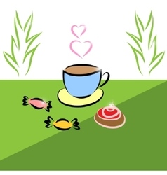 Morning Cup of tea and cake sweets vector image