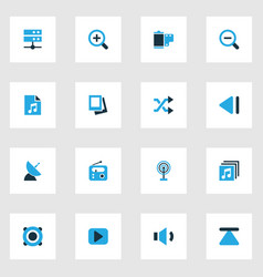 multimedia colorful icons set collection of vector image