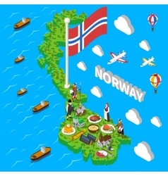 Norway Map Touristic Symbols Isometric Poster vector