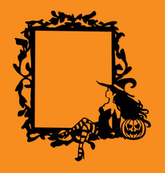 Paper cut silhouette whimsical gothic frame vector