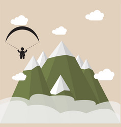 Paragliding snow mountains vector