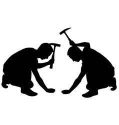 People with hammer vector
