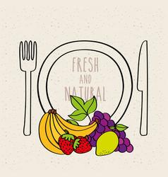 Plate fork and knife banana strawberry grape lemon vector
