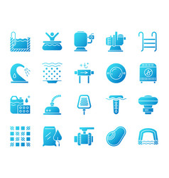 Pool equipment simple gradient icons set vector