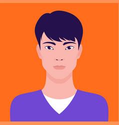 Portrait a young asian man flat vector
