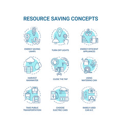 Resource saving turquoise concept icons set vector