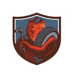 russian bear tireman shield mascot vector image
