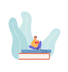 Scene young reading man sitting on pile vector
