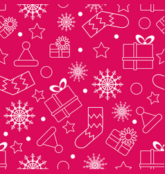seamless christmas pattern boxes snowflakes vector image