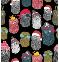 Seamless pattern with owls vector image