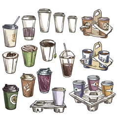 Selection of coffee takeaway cups vector