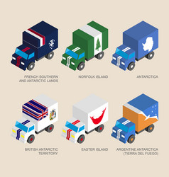 Set isometric 3d cargo with flags vector